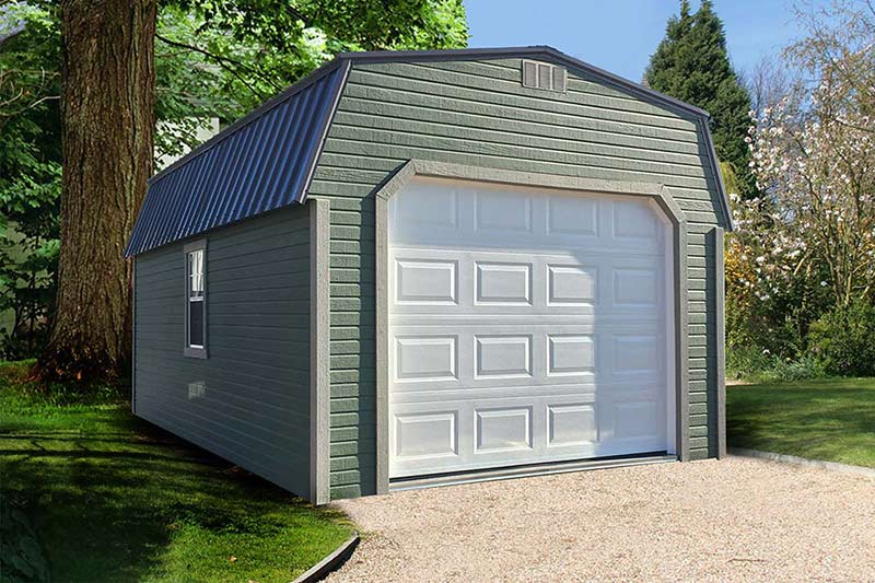 garage with dutchlap siding