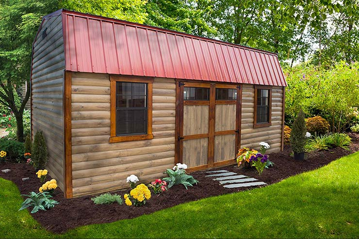 High Barn shed Smoke stain color Half log siding, Chestnut stain trim,                                     Red metal roof, Wooden double doors with Transom windows.