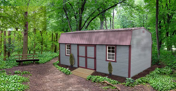 Mini Barn shed with amestown Red color Dutchlap siding, pequea tan color Trim and doors, Shiny Black color Roof